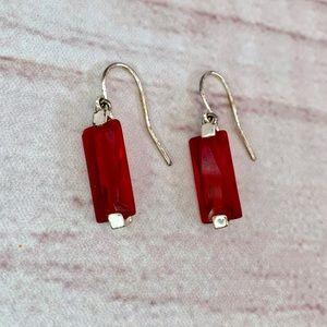 Jewelry - Ruby Red Rectangular Fish Hook Modern Earrings
